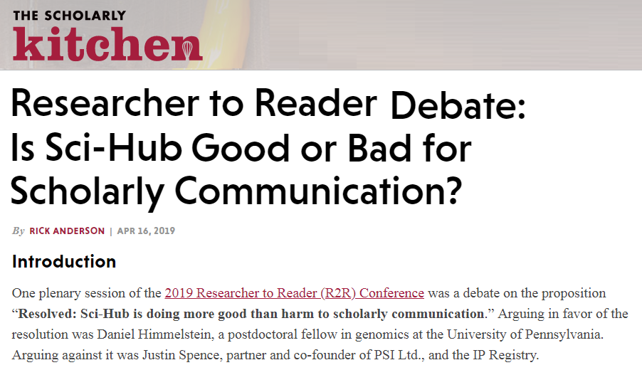 R2r Debate At Scholarly Kitchen The Researcher To Reader
